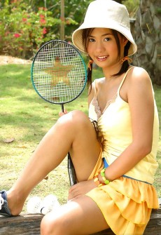 cute badminton girl strips naked